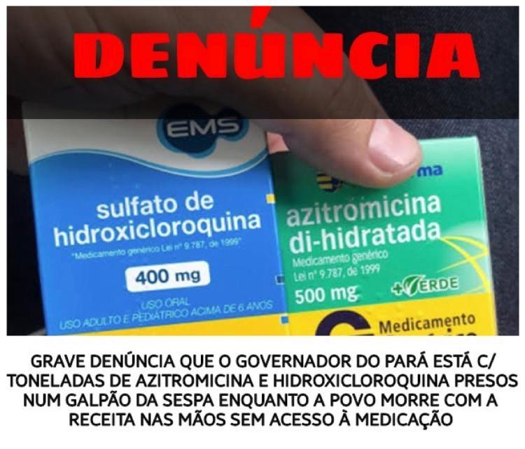 Um dos cards mais compartilhados no WhatsApp essa semana denunciava má vontade do governo paraense na distribuição da hidroxicloroquina.